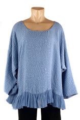 URU Clothing Lissa Silk Blouse  in Periwinkle (fits L - 1XL) SALE