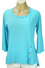 Color Me Cotton CMC Supima Jersey Tenley Top in Aqua on Sale