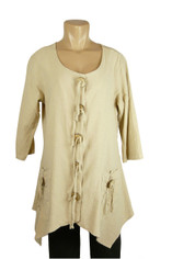Color Me Cotton Crinkle Cotton Amy Tunic Sand