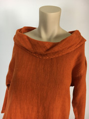 Color Me Cotton CMC Linen Cowl Shirt in Tangerine  Small