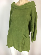 Color Me Cotton CMC Linen Cowl Shirt in Avocado  Medium