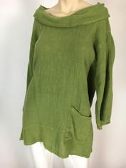 Color Me Cotton CMC Linen Cowl Shirt in Avocado  Medium