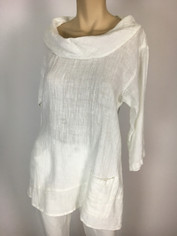 Color Me Cotton CMC Linen Cowl Shirt in White SALE