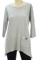 Focus Fashions Ribbed Cotton Shirt in Grey CLEARANCE SALE Last One XL