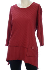 Focus Fashions Ribbed Cotton Shirt in Red CLEARANCE SALE Last One Large