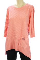 Focus Ribbed Cotton Shirt in Coral