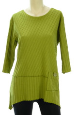 Focus Fashions Ribbed Cotton Shirt in Olive CLEARANCE SALE Last One Small