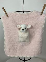 CozyChic Barefoot Dreams Pink Pocket Buddies Mini Baby Blankie with Elephant