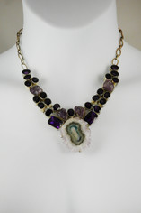 Amethyst and Quartz Drusy Necklace