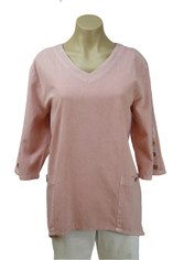 Focus Fashions Cotton Tunic in Soft Shell Pink CLEARANCE SALE Last One Small