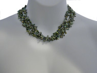 Multi Strand Green Pearls Necklace with Jade Clasp