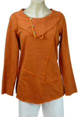 Color Me Cotton CMC French Terry Pullover Top in Autumn Orange