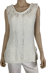 Handknit Textured Pullover in Bright White by Pure & Co/Neon Buddha