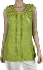 Handknit Textured Pullover in Citrus Green by Pure