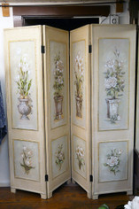 Room Screen Cream and Neutrals Floral 4 panels