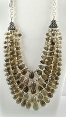 Five strands faceted Smoky Topaz Briolettes & Sterling Necklace