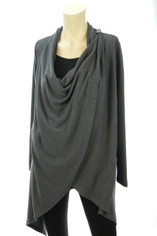 Long Drape Front Sweater by Papillion in Charcoal