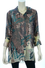 Sheer with Burnout Silk Blouse in Leaf Print