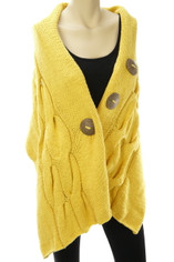 Cable Knit Cotton Wrap Shawl in Happy Yellow