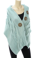 Cable Knit Cotton Wrap Shawl in Aqua Blue