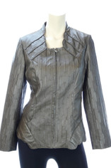 Leather Look Bronze Brown Chic Jacket by Flair