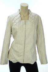 Pearlized Ivory Leather Look Jacket by Flair