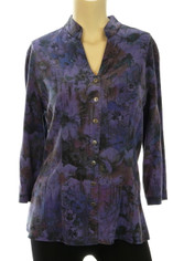 Tencel by Tianello Floral Plum Print Joycie Shirt Small
