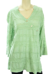 Tianello Cotton Textured Tunic in Seafoam Mint Small