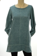 Color Me Cotton CMC French Terry Tunic in Washed Denim Blue