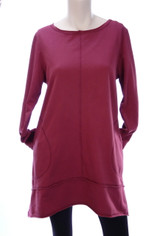 Color Me Cotton CMC French Terry Tunic in Deep Ruby Red