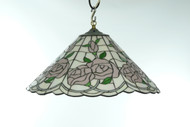 Soft Pink Roses Vintage Stained Glass Chandelier