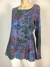 COLOR ME COTTON CMC Supima Cotton Moroccan Print Camille Top in Lilac