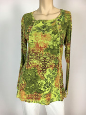 COLOR ME COTTON CMC Supima Cotton Moroccan Print Camille Top in Celery | Arabella