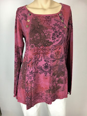 COLOR ME COTTON CMC Supima Cotton Moroccan Print Camille Top in Rose Rouge