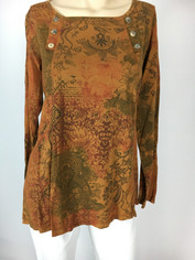 COLOR ME COTTON Supima Cotton Moroccan Print Laurie Top in Cinnamon