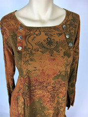 COLOR ME COTTON Supima Cotton Moroccan Print Laurie Top in Rust