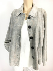 COLOR ME COTTON CMC Tapestry Jacket in Soft Cloud Tonal Grey Clearance Sale