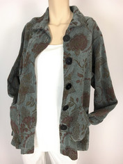 COLOR ME COTTON CMC Tapestry Jacket in Soft Grey Blue Multi LAST ONE SMALL CLEARANCE