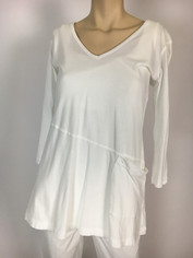Color Me Cotton CMC Supima Rosie V-Neck Tunic Top in White