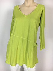 Color Me Cotton CMC Supima Rosie V-neck Tunic Top in Morning Green
