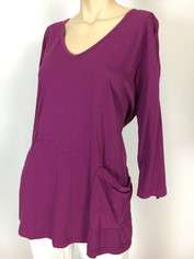Color Me Cotton CMC Supima Rosie V-neck Tunic Top in Orchid  2XLarge