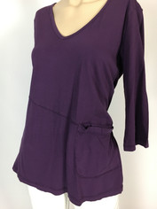Color Me Cotton CMC Supima Rosie V-Neckline Tunic Top in Purple