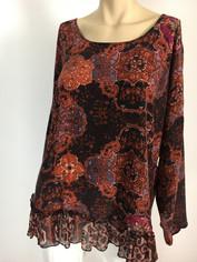 URU Clothing Silk Marrakesh Print Top (fits L - 1XL) SALE