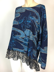 URU Clothing Silk Marrakesh Print Top in Blues (fits L - 1XL) SALE