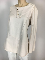 Color Me Cotton CMC French Terry Pullover Top in White Chocolate