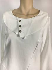 Color Me Cotton CMC French Terry Pullover Top in Pure White