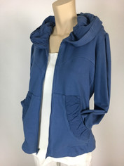 Color Me Cotton CMC French Terry Alana Hoodie Jacket in Medium Denim Blue Last One size Medium