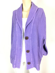 Focus Fashion Waffle Weave Cotton Shawl Collar Jacket in Lilac Large Clearance Price