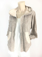 Color Me Cotton CMC French Terry Alana Hoodie Jacket in Cafe au Lait