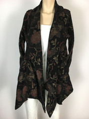Color Me Cotton CMC Tapestry Swing Jacket in Black with muted design colors Last One in size XSmall/Small Clearance